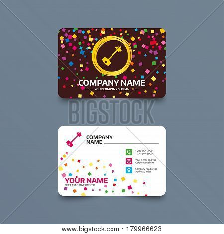 Business card template with confetti pieces. Key sign icon. Unlock tool symbol. Phone, web and location icons. Visiting card  Vector