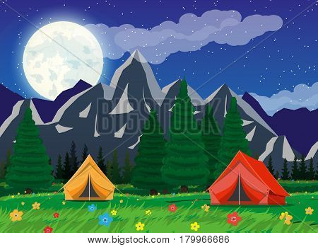 Meadow with grass and camping. Tents, flowers, mountains, trees, sky, stars, moon and clouds. Vector illustration in flat style