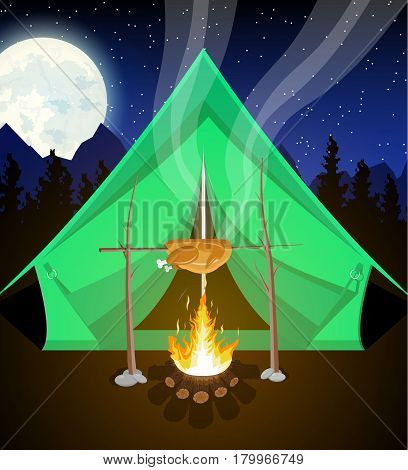 Meadow with camping in night. Tent, bonfire, fried chicken, mountains, trees, sky, moon and stars. Vector illustration in flat style