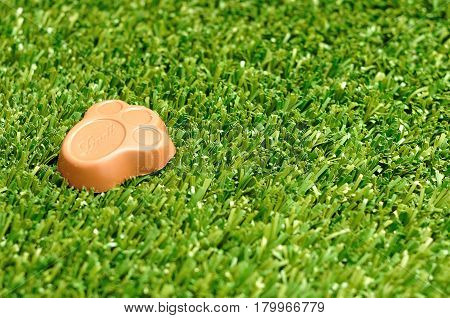 Kwa Zulu Natal - 4 April 2017 - Lindt Bunny paw for easter displayed on artificial grass