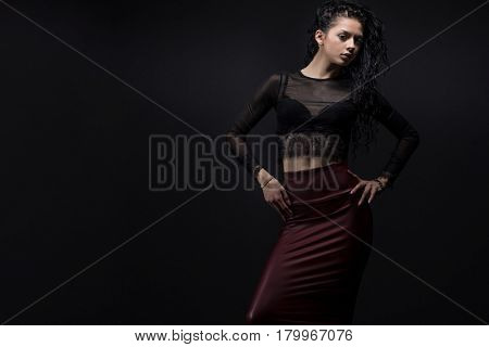Beauty Model girl with Healthy curly black  Hair.