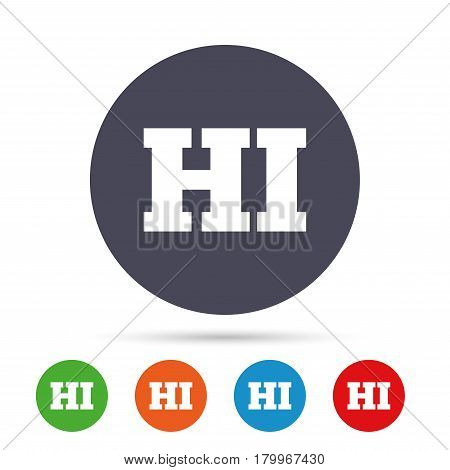 Hindi language sign icon. HI India translation symbol. Round colourful buttons with flat icons. Vector