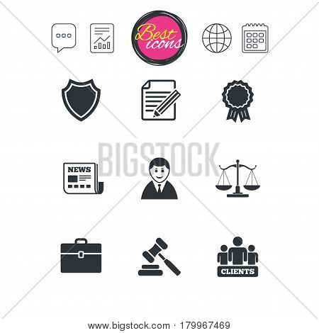 Chat speech bubble, report and calendar signs. Lawyer, scales of justice icons. Clients, auction hammer and law judge symbols. Newspaper, award and agreement document signs. Vector