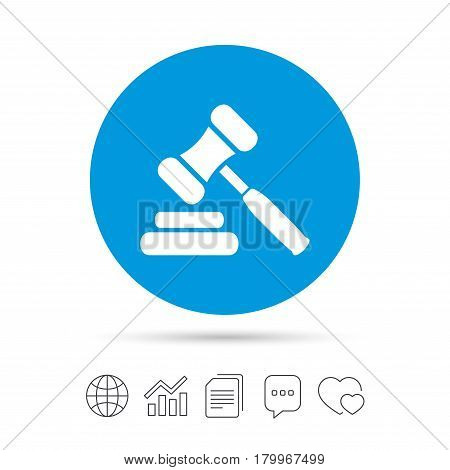 Auction hammer icon. Law judge gavel symbol. Copy files, chat speech bubble and chart web icons. Vector
