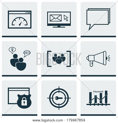 Set Of 9 Marketing Icons. Includes Conference, Security, Search Optimization And Other Symbols. Beautiful Design Elements.