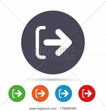 Logout sign icon. Sign out symbol. Arrow icon. Round colourful buttons with flat icons. Vector