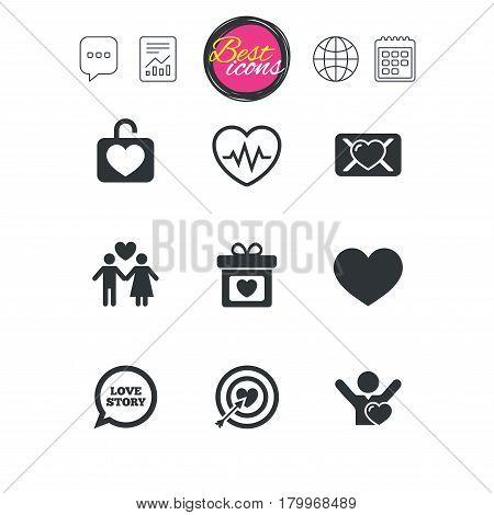 Chat speech bubble, report and calendar signs. Love, valentine day icons. Target with heart, oath letter and locker symbols. Couple lovers, heartbeat signs. Classic simple flat web icons. Vector