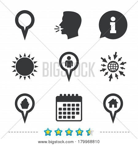 Map circle pointer icons. Home, food and user location symbols. Restaurant and cupcake signs. You are here. Information, go to web and calendar icons. Sun and loud speak symbol. Vector