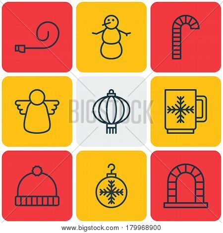 Set Of 9 Holiday Icons. Includes Archangel, Knitted Cap, Traditional Lamp And Other Symbols. Beautiful Design Elements.
