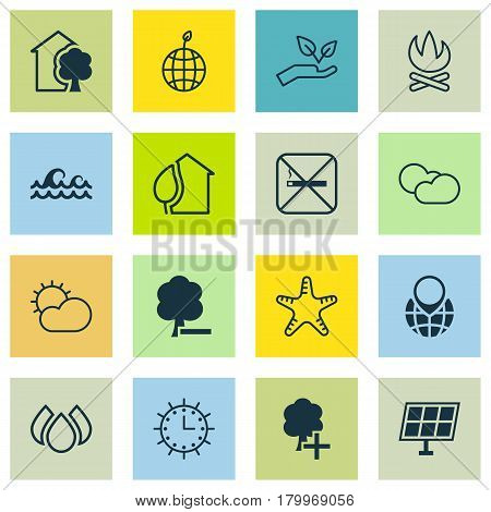 Set Of 16 Ecology Icons. Includes World Ecology, Bonfire, Delete Woods And Other Symbols. Beautiful Design Elements.
