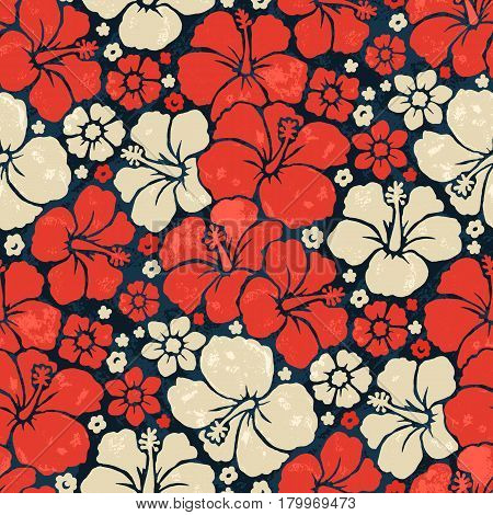 Color vector seamless pattern with flowers hibiskus. Hawaiian fancy abstract shirt art print. Ethnic hipster backdrop.