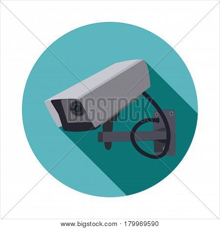 Vector image of a video camera on a round basis