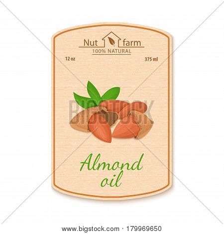 Vector almond oil lable. Composition of almond nut. Design of a sticker for jar walnut nut oil, olmond butter. Sticker in retro style with texture for your design.