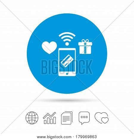 Wireless mobile payments icon. Smartphone, credit card and gift symbol. Copy files, chat speech bubble and chart web icons. Vector