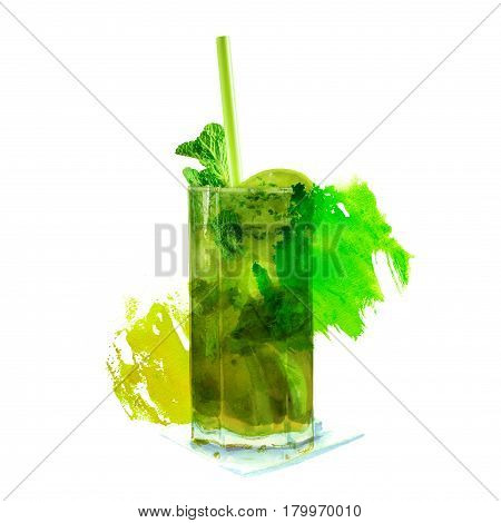 A photo of a mojito cocktail with mint leaves, a wedge of lime, and a drinking straw, on a white background with a watercolor texture and a place for text