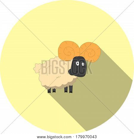 Vector image of a cartoon ram on a round basis