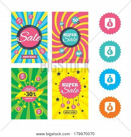 Web banners and sale posters. Money bag icons. Dollar, Euro, Pound and Yen speech bubbles symbols. USD, EUR, GBP and JPY currency signs. Special offer and discount tags. Vector