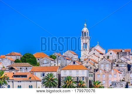 Scenic view on Korcula city center with marble typical mediterranean architecture, Croatia Europe.