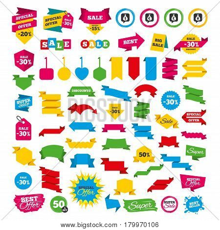 Web banners and labels. Special offer tags. Money bag icons. Dollar, Euro, Pound and Yen speech bubbles symbols. USD, EUR, GBP and JPY currency signs. Discount stickers. Vector