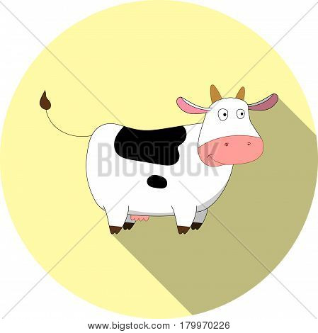Vector image of a cartoon cow on a round basis