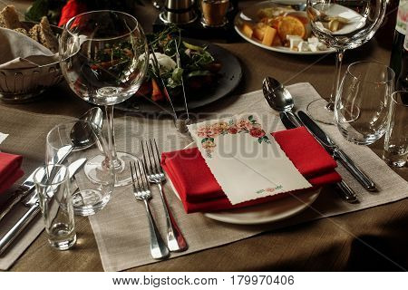 Menu Floral Card With Empty Space For Text And Luxury Glasses And Plates With Napkins On Stylish Dec