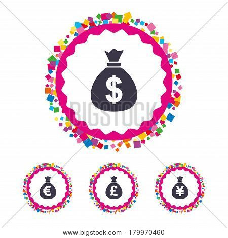 Web buttons with confetti pieces. Money bag icons. Dollar, Euro, Pound and Yen symbols. USD, EUR, GBP and JPY currency signs. Bright stylish design. Vector