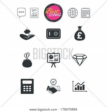 Chat speech bubble, report and calendar signs. Money, cash and finance icons. Handshake, safe and calculator signs. Chart, safe and jewelry symbols. Classic simple flat web icons. Vector