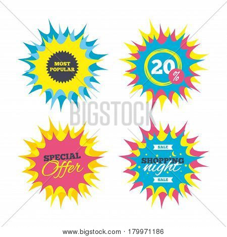 Shopping offers, special offer banners. Most popular sign icon. Bestseller symbol. Discount star label. Vector