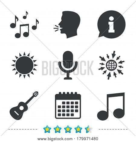 Music icons. Microphone karaoke symbol. Music notes and acoustic guitar signs. Information, go to web and calendar icons. Sun and loud speak symbol. Vector