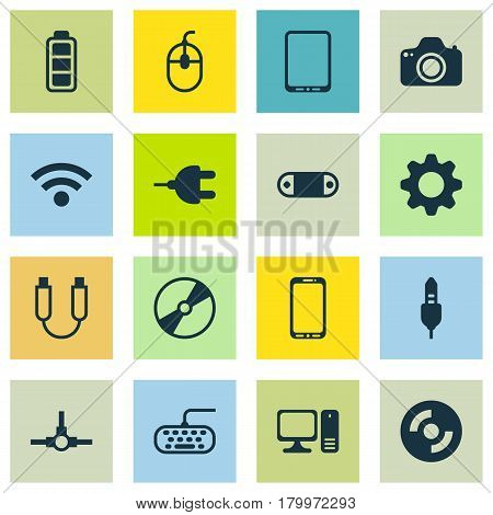Set Of 16 Computer Hardware Icons. Includes Settings, Desktop Computer, Aux Cord And Other Symbols. Beautiful Design Elements.