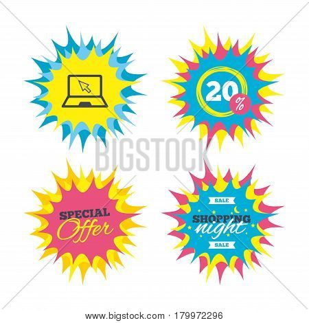 Shopping offers, special offer banners. Laptop sign icon. Notebook pc with cursor pointer symbol. Discount star label. Vector
