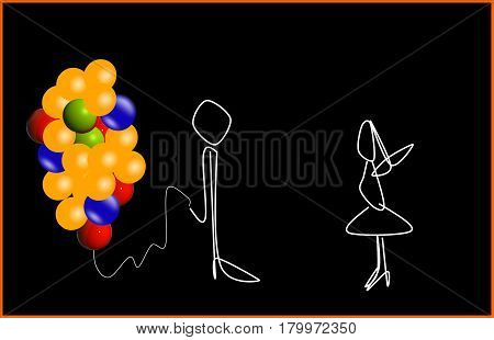 The man with the balloons. Declaration of love.
