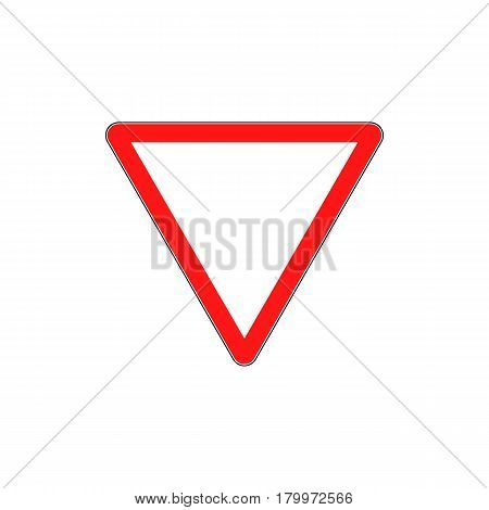 Priority of traffic sign. Give Way - Danger Triangle Road sign isolated on white background