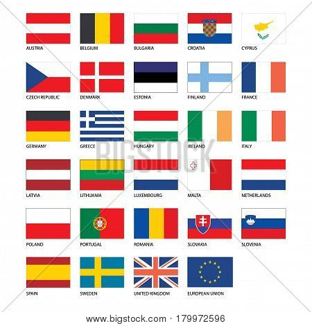 Vector - Flags of Europe - Full Collection. Set of Flat European Flags on a whit background