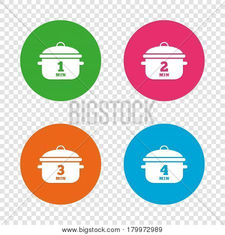 Cooking pan icons. Boil 1, 2, 3 and 4 minutes signs. Stew food symbol. Round buttons on transparent background. Vector