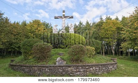 The scene of crucifiction on the grounds of Mount Melleray Abbey in County WaterfordIreland