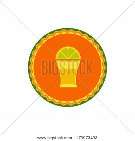 Mexican poster concept. Fancy flat style. Round decorative ornate frame. Shot glass tequila, lime lemon emblem. Traditional symbol of Mexico. Template for logo. Vector fiesta badge element background