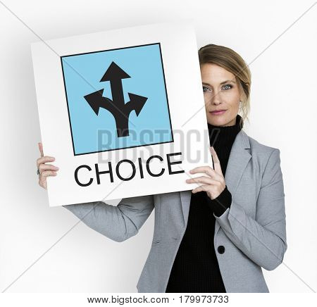 Business woman decision making choice