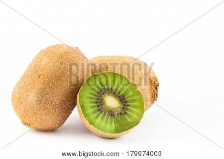 Kiwifruit ( Actinidia chinensis ) on white background
