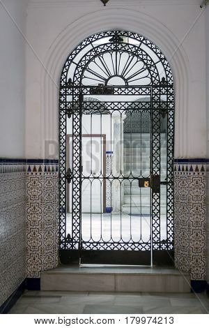 Entry to typical house of this city popular architecture of the XIXth century traditional architecture in Cadiz Andalusia southern Spain