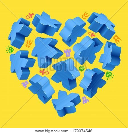 Vector game pieces in the shape of heart. Blue wooden meeples, and resources counter icons isolated on yellow background. Concept of love by board games