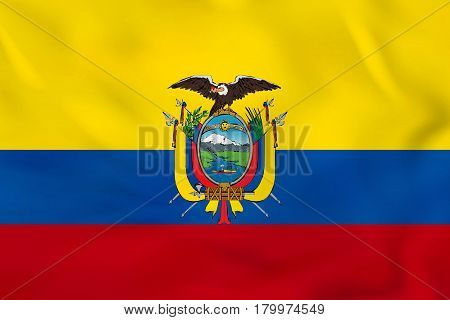 Ecuador Waving Flag. Ecuador National Flag Background Texture.