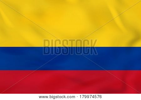 Colombia Waving Flag. Colombia National Flag Background Texture.