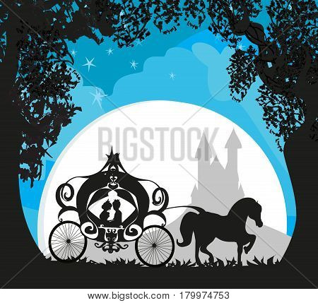 princess with prince in the carriage , vector illustration