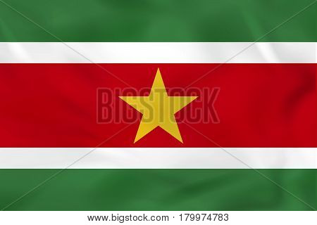 Suriname Waving Flag. Suriname National Flag Background Texture.