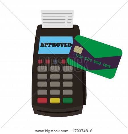 Pos terminal confirms payment by credit card. Paypass and NFC payments concept. Mobile payments and near field communication.