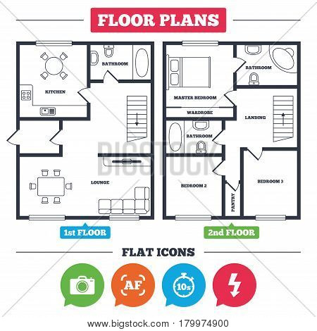 Architecture plan with furniture. House floor plan. Photo camera icon. Flash light and autofocus AF symbols. Stopwatch timer 10 seconds sign. Kitchen, lounge and bathroom. Vector