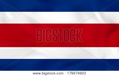 Costa Rica Waving Flag. Costa Rica National Flag Background Texture.