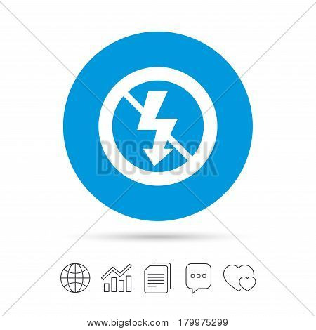 No Photo flash sign icon. Lightning symbol. Copy files, chat speech bubble and chart web icons. Vector