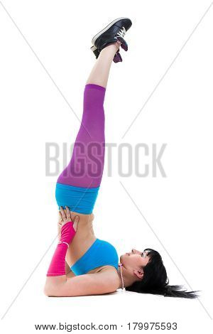 fitness woman practicing yoga, standing in unsupported shoulder stand pose, isolated on white background in full length.